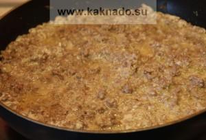 фарш тушеный с луком, чесноком и сметаной, бессолевая диета