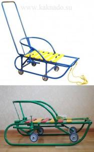 детские санки со складными колесами