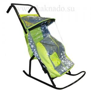 санки-коляска с дождевиком, козырьком и сумкой