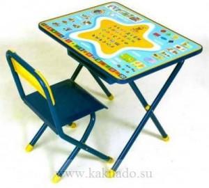 складыне стул и стол для детей с развивающей столешницей и с пеналом