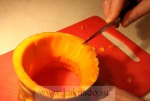 как сделать рожу из тыквы