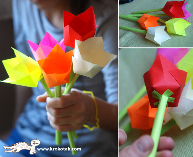 поделка с ребенком, букет цветов своими руками