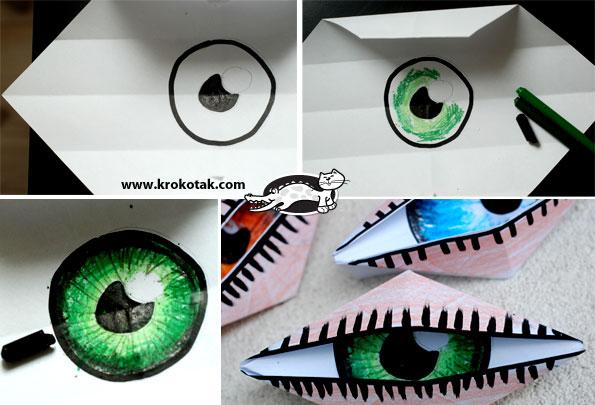 интересные поделки с ребенком, совместный досуг с ребенком, мигающий глаз циклопа в технике оригами