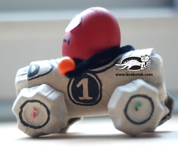 забавные и интересные поделки с детьми, подставка для яиц в виде автомобильчика