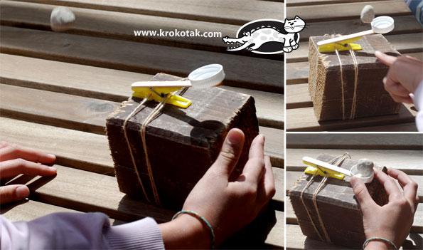 как сделать игрушечную катапульту для детских игр, фото