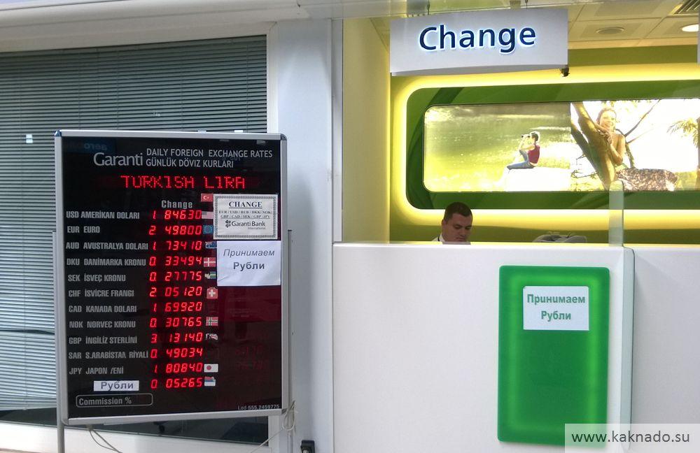 обменный курс валют в аэропорту анталия