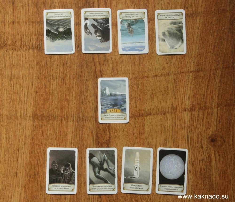 """Исходная позиция для двух игроков. Отсчетом временной оси является карта """"1821 - Джон Дэвис ступил на берег Антарктиды"""". Событие сомнительное, учитывая, что Антарктиду открыли Беллинсгауэен и Лазарев в 1820 году."""