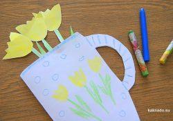 Тюльпаны в кружке –  рукодельная открытка любимым бабушкам